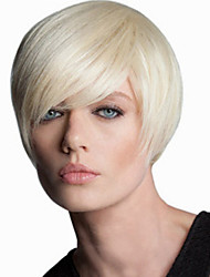 cheap -Synthetic Wig Straight Kardashian Straight Asymmetrical Wig Short Blonde Synthetic Hair Women's Natural Hairline White