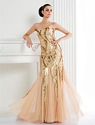 Недорогие -TS кутюр формальное вечернее платье - шампанское труба / русалка бретельках длиной до пола блестками