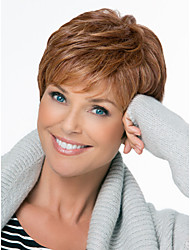 cheap -Natural Fluffy High Quality Capless Short Wavy Mono Top Human Hair Wigs Twelve Colors to Choose