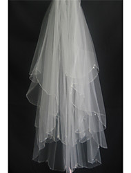 cheap -Two-tier Beaded Edge Wedding Veil Fingertip Veils with Beading / Scattered Crystals Style Tulle / Classic