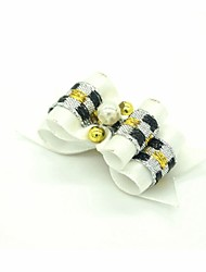 cheap -Lovely Ribbon Style Pearl Decorated Rubber Band Hair Bow for Pet Dogs