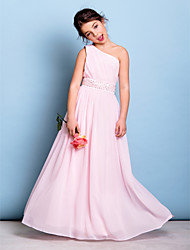cheap -A-Line One Shoulder Floor Length Chiffon Junior Bridesmaid Dress with Sash / Ribbon / Beading / Side Draping / Natural