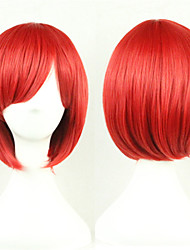 cheap -Synthetic Wig Cosplay Wig Straight Style Asymmetrical Wig Red Synthetic Hair Women's Natural Hairline Red Wig Short