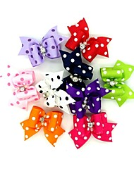 cheap -Lovely Ribbon Style Spot Pattern Rubber Band Hair Bow for Pet Dogs  (Random Color)