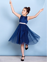 cheap -A-Line Jewel Neck Knee Length Tulle Junior Bridesmaid Dress with Sequin / Draping / Sash / Ribbon / Natural