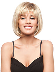 cheap -Human Hair Wig Straight Short Hairstyles 2020 Straight Capless Blonde Brown With Blonde Strawberry Blonde 12 inch