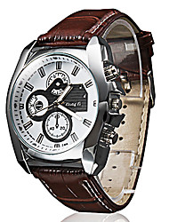 cheap -Men's Wrist Watch Aviation Watch Quartz Quilted PU Leather Black / Brown Casual Watch Analog Classic Casual fancy - Black Brown