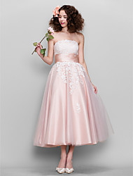 cheap -Ball Gown 1950s Pink Wedding Guest Prom Dress Strapless Sleeveless Ankle Length Tulle Stretch Satin with Appliques 2020