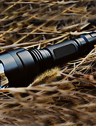 cheap -LED Flashlights / Torch 200 lm LED 1 Emitters 5 Mode with Battery and Charger Camping / Hiking / Caving EU Plug US Plug Black / Aluminum Alloy / AU Plug / 5 (High > Mid > Low > Strobe > SOS)