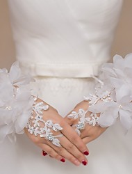 cheap -Lace / Tulle Wrist Length Glove Bridal Gloves / Party / Evening Gloves / Flower Girl Gloves With Rhinestone / Floral