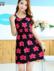 cheap -Women's Red Dress Summer Daily A Line Floral Flower One-Size