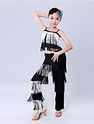 cheap -Latin Dance Outfits Training / Performance Polyester Tassel Sleeveless Natural Top / Pants