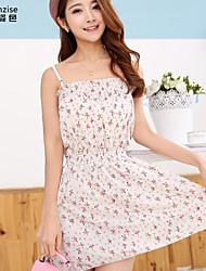cheap -Women's Beige Dress Summer Beach A Line Floral Strap Strapless Flower One-Size