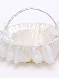 "cheap -Flower Basket Satin / Rattan 8 3/5"" (22 cm) Faux Pearl / Ribbons / Rattan 1 pcs"