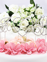 cheap -Cake Topper Classic Theme Monogram Chrome Wedding / Anniversary / Birthday with Rhinestone 1 pcs OPP