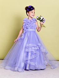cheap -A-Line Sweep / Brush Train Pageant Flower Girl Dresses - Organza Sleeveless Jewel Neck with Ruched / Flower