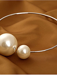 cheap -Women's Pearl Choker Necklace Statement Necklace Pearl Necklace Ladies Basic Fashion Bridal Pearl Alloy Gold Silver Necklace Jewelry For Wedding Party Birthday Gift Daily / Oversized