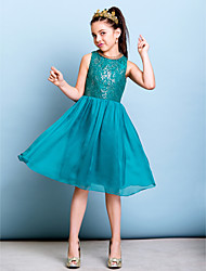 cheap -A-Line Jewel Neck Knee Length Chiffon / Sequined Junior Bridesmaid Dress with Sequin