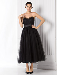 cheap -Ball Gown Little Black Dress Holiday Homecoming Cocktail Party Dress Sweetheart Neckline Sleeveless Tea Length Tulle with Sash / Ribbon 2021