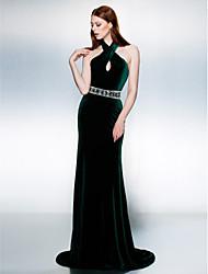 cheap -Mermaid / Trumpet Open Back Keyhole Formal Evening Black Tie Gala Dress Halter Neck Sleeveless Court Train Velvet with Sash / Ribbon Beading 2021