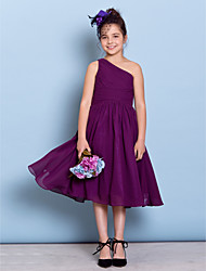 cheap -A-Line One Shoulder Tea Length Chiffon Junior Bridesmaid Dress with Side Draping / Criss Cross / Natural