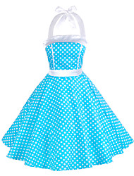 cheap -Women's Going out Vintage A Line / Skater Dress - Polka Dot Ruffle Halter Neck Summer Cotton Red Green Blue L XL XXL