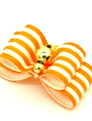 cheap -Elegant Stripe Style Golden Rhinestone Decorated Rubber Band Hair Bow for Pet Dogs