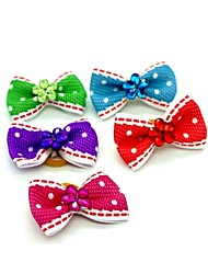 cheap -Lovely Two-Tone Ribbon Style Bead Decorated Rubber Band Hair Bow for Pet Dogs  (Random Color)