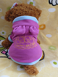 cheap -Dog Hoodie Dog Clothes Cartoon Letter & Number White / Pink Polar Fleece Costume For Winter