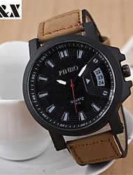 cheap -Men's Military Watch Quartz Leather Black / Brown Hot Sale Analog Charm - Black Brown