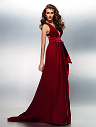cheap -A-Line Beautiful Back Prom Formal Evening Dress Plunging Neck Sleeveless Sweep / Brush Train Stretch Satin with Sash / Ribbon 2020