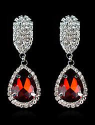 cheap -Women's Drop Earrings - Gemstone, Silver Plated Drop Red / Green / Blue For