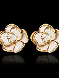 abordables -Boucles d'oreille Clou Femme Plaqué Or 18 Carats Plaqué or Roses Fleur Bagues Tendance Bijoux Dorée pour