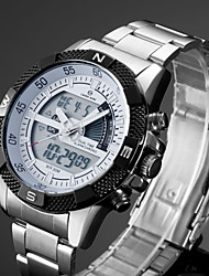 cheap -Men's Sport Watch Dress Watch Analog - Digital Quartz Classic Water Resistant / Waterproof Alarm Calendar / date / day / Stainless Steel / Stainless Steel / Japanese