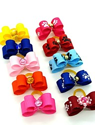 cheap -Lovely Pure Color Ribbon Style  Bead Decorated Rubber Band Hair Bow for Pet Dogs  (Random Color)