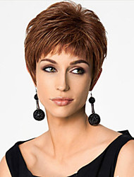 cheap -Synthetic Wig Straight Straight Asymmetrical Wig Short Dark Auburn Synthetic Hair Women's Natural Hairline Brown