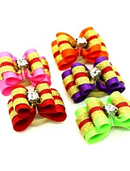 cheap -Cute Two-Tone Ribbon Style Rhinestone Decorated Rubber Band Hair Bow for Pet Dogs  (Random Color)