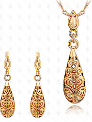 cheap -Jewelry Set Pendant Necklace Hollow Out Drop Ladies Vintage Party Work Fashion 18K Gold Plated Earrings Jewelry Gold For Party Special Occasion Anniversary Birthday Gift