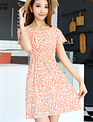 cheap -Women's Pink Dress Summer Daily A Line Floral Flower One-Size