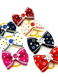 cheap -Lovely Ribbon Style Rhinestone Decorated Rubber Band Hair Bow for Pet Dogs  (Random Color)