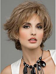 cheap -Human Hair Blend Wig Wavy Short Hairstyles 2020 Wavy Capless Dark Brown Auburn Red Mixed Black