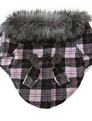 Недорогие -Кошка Собака Плащи Одежда для собак Красный Розовый Хлопок Смешанные материалы Костюм Назначение Зима