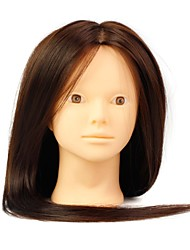 cheap -heat resistant synthetic hair salon female mannequin head no make up color brown
