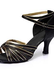 cheap -Women's Dance Shoes Satin Latin Shoes Buckle Heel Customized Heel Customizable Black / Gold / Performance