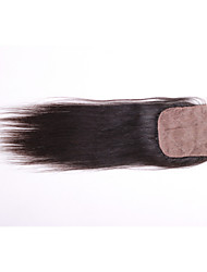 cheap -08inch-20inch Black / Natural Black Straight Remy Hair Closure Medium Brown Swiss Lace 30g-60g gram Cap Size