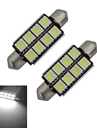 cheap -2pcs 42mm 1.5W 150lm Car Light Bulbs 8LEDs SMD 5050 Reading Light Cold White DC 12 V
