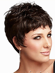 cheap -Synthetic Wig Straight Kardashian Style Layered Haircut Wig Black Synthetic Hair Women's Natural Hairline Black Wig Short