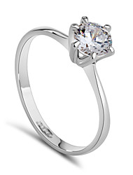 cheap -Women's Statement Ring Synthetic Diamond Silver Golden Crystal Cubic Zirconia Platinum Plated Ladies Fashion Bridal Wedding Party Jewelry Solitaire Round Cut Simulated / Alloy