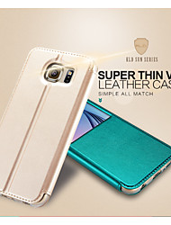 cheap -Case For Samsung Galaxy S6 with Stand / with Windows / Flip Full Body Cases Solid Colored PU Leather