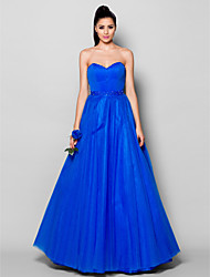cheap -Ball Gown Lace Up Formal Evening Dress Sweetheart Neckline Sleeveless Floor Length Tulle with Beading Draping 2021